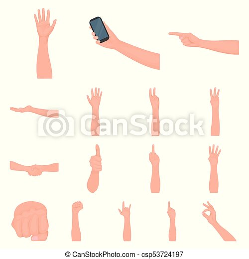 Gestures and their meaning cartoon icons in set collection for design. Emotional part of communication vector symbol stock web illustration. - csp53724197