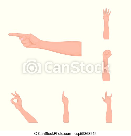 Gestures and their meaning cartoon icons in set collection for design. Emotional part of communication vector symbol stock web illustration. - csp58363848