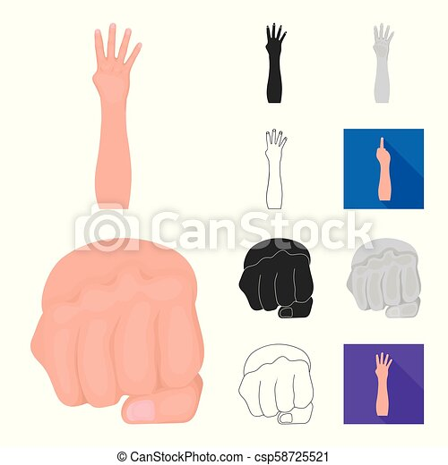 Gestures and their meaning cartoon, black, flat, monochrome, outline icons in set collection for design. Emotional part of communication vector symbol stock web illustration. - csp58725521