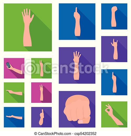 Gestures and their meaning flat icons in set collection for design. Emotional part of communication vector symbol stock web illustration. - csp54202352