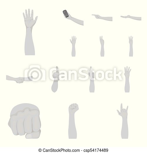 Gestures and their meaning monochrome icons in set collection for design. Emotional part of communication vector symbol stock web illustration. - csp54174489