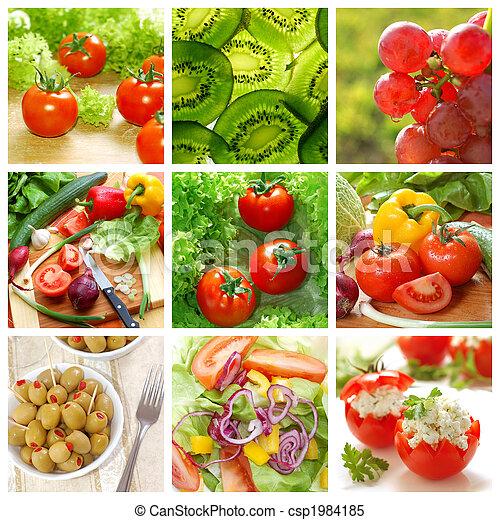 gesunde, collage, gemuese, lebensmittel - csp1984185