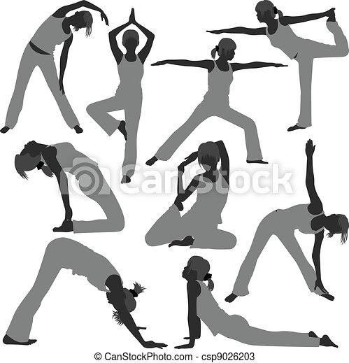 gesunde frau, posen, joga, übung - csp9026203