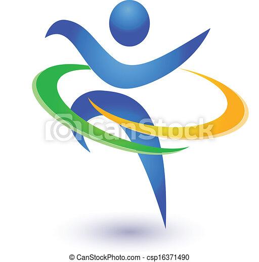 Gesund und glücklich Logo Vektor - csp16371490