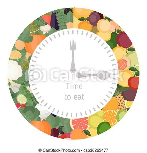 Gesundes essen, essende, uhr. Essende, uhr, gesunde, concept., diät ...