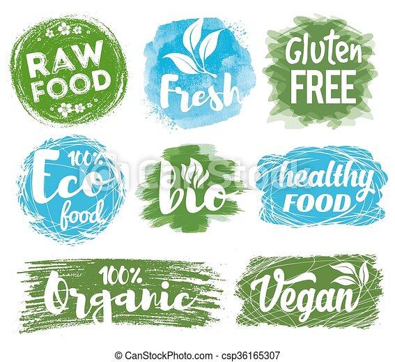 Gesundes essen, logo. Getränk, logos, entwürfe, satz,... Vektor ...