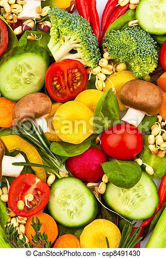 gesundes herz, gemacht, essende, vegetables. - csp8491430