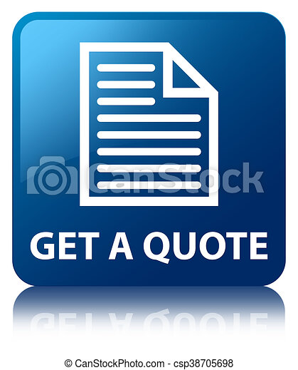 Get a quote (page icon) blue square button - csp38705698