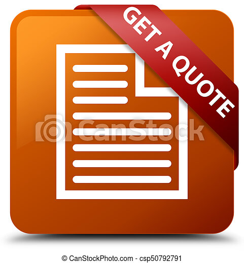 Get a quote (page icon) brown square button red ribbon in corner - csp50792791
