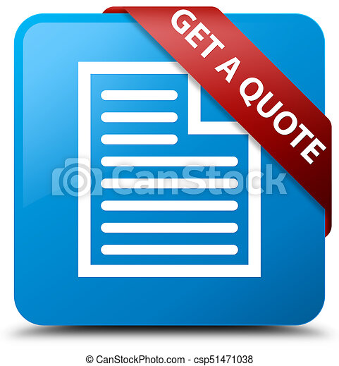 Get a quote (page icon) cyan blue square button red ribbon in corner - csp51471038