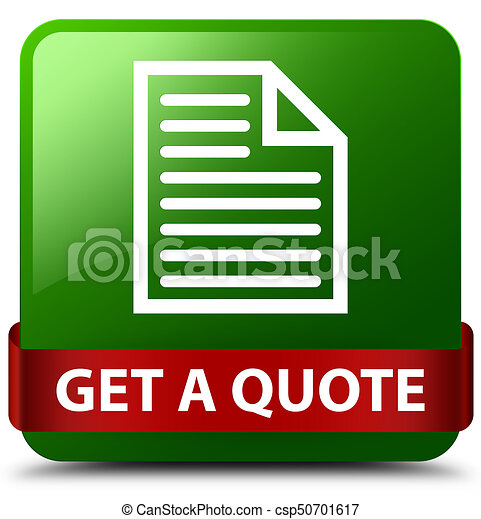 Get a quote (page icon) green square button red ribbon in middle - csp50701617