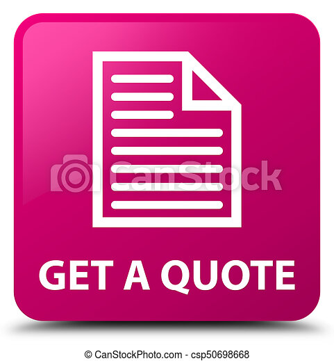 Get a quote (page icon) pink square button - csp50698668
