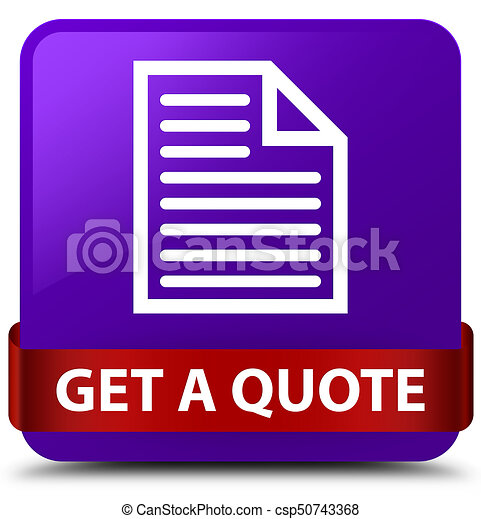 Get a quote (page icon) purple square button red ribbon in middle - csp50743368