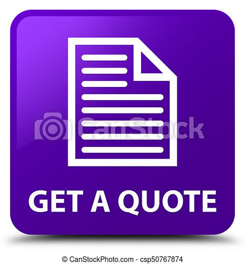 Get a quote (page icon) purple square button - csp50767874