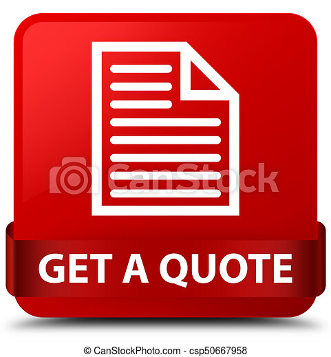 Get a quote (page icon) red square button red ribbon in middle - csp50667958