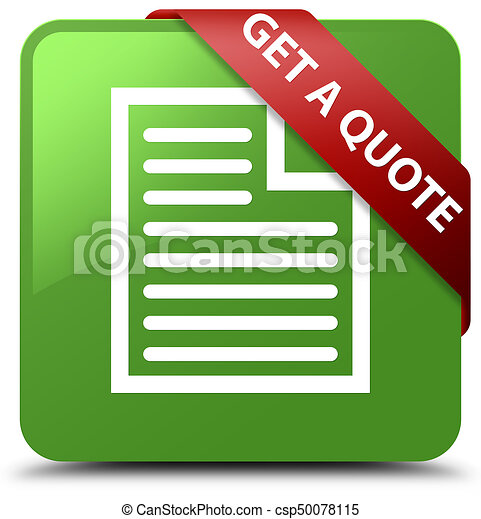 Get a quote (page icon) soft green square button red ribbon in corner - csp50078115