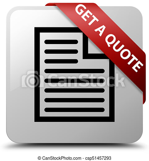 Get a quote (page icon) white square button red ribbon in corner - csp51457293