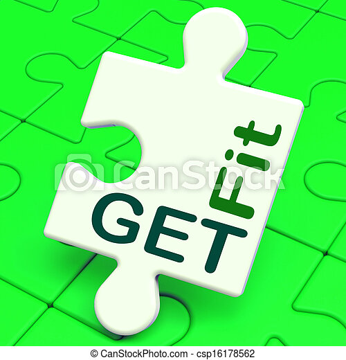 Get Fit Puzzle Shows Working Out Or Fitness - csp16178562
