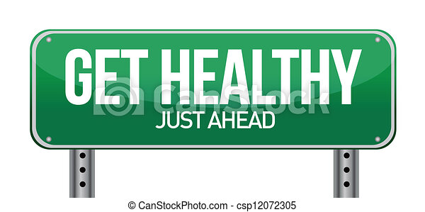 Get Healthy Green Road Sign - csp12072305