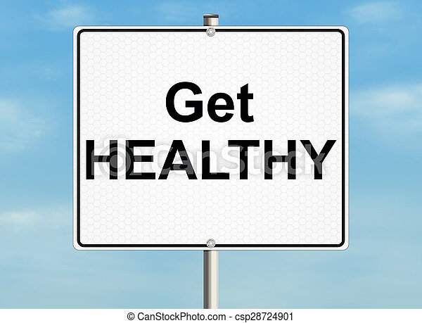 Get healthy. Road sign on the sky background. Raster illustration. - csp28724901