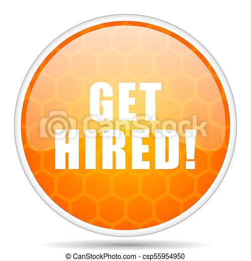 Get hiviolet pink web icon. Round orange glossy internet button for webdesign. - csp55954950
