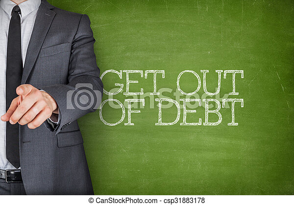 Get out of debt on blackboard with businessman - csp31883178
