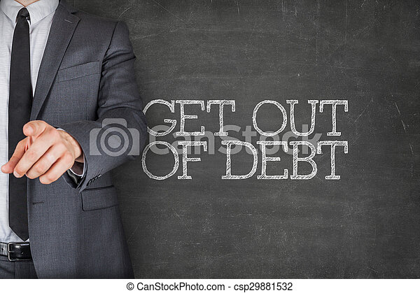 Get out of debt on blackboard with businessman - csp29881532