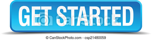 get started blue 3d realistic square isolated button - csp21480059