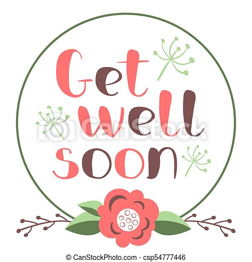 get well soon card with hand drawn lettering decorative poster with