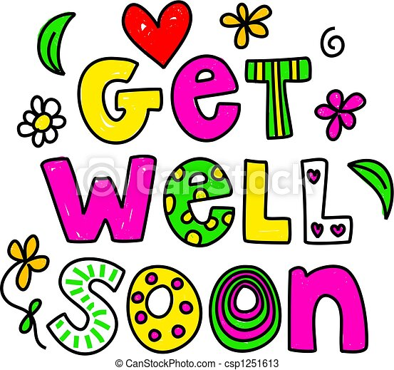 get well soon simple but pretty whimsical text message drawings rh canstockphoto com  free clipart get well soon