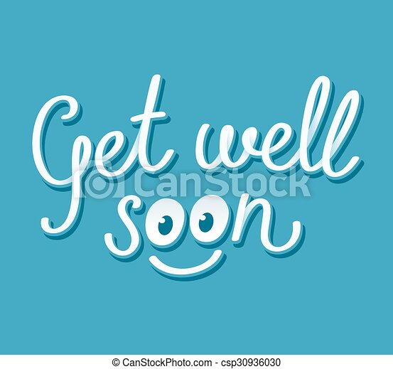 get well soon handwritten card with cute smiley face vector