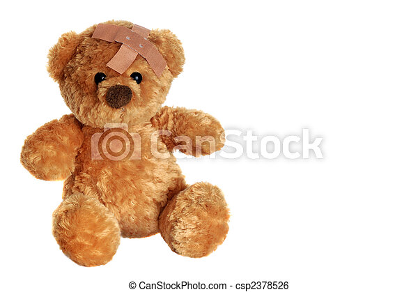 get well soon portrait of a cute teddy bear with an adhesive