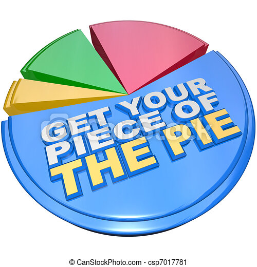 Get Your Piece of The Pie Chart Measuring Wealth and Riches - csp7017781