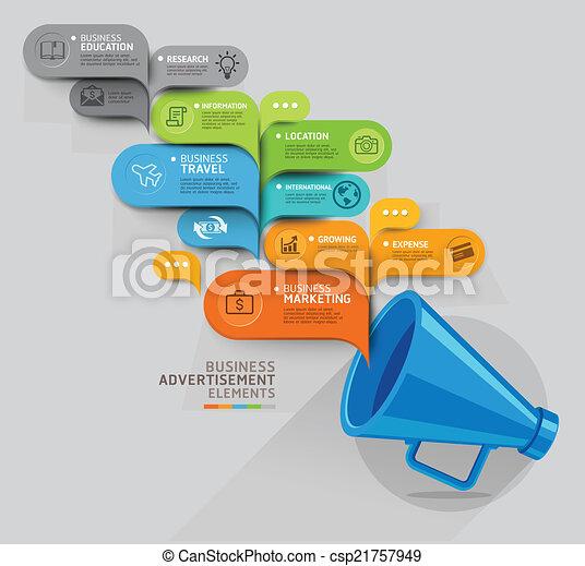 getal, ontwerp, mal, web, concept., template., toespraak, megafoon, bel, zijn, gebruikt, zakelijk, workflow, opties, opmaak, stap, spandoek, diagram, illustration., infographic., op, vector, groenteblik - csp21757949