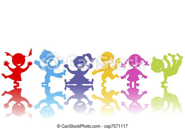 getrokken, hand, kinderen, gekleurde - csp7571117