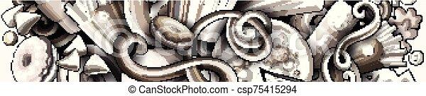 getrokken, spotprent, fastfood, hand, banner., gedetailleerd, illustraties, doodle - csp75415294