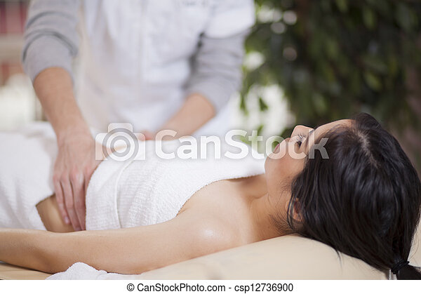 Getting a massage at home - csp12736900
