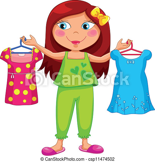 getting dressed girl holding different outfits vector clipart rh canstockphoto ca someone getting dressed clipart boy getting dressed clipart