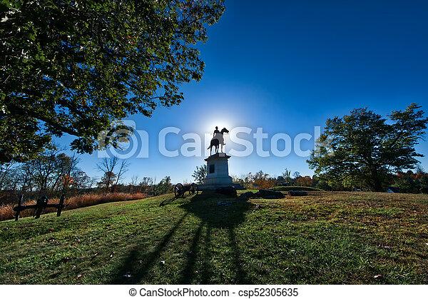 Gettysburg Battlefield Monument at sunset in Autumn - csp52305635