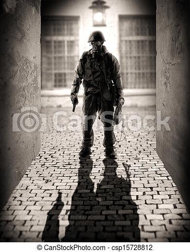 gevaarlijk, mannen, silhouette, militair - csp15728812