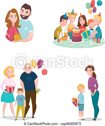 geven, set, gezin, cadeau - csp46300973