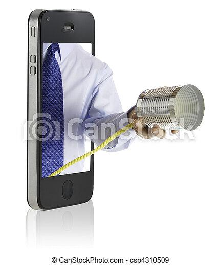 geven, telefoon, blikje, hand - csp4310509