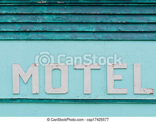 geverfde, motel, blauwe-groen, siding, historisch, facade - csp17425577