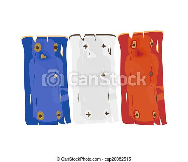 geverfde, vlag, hout, franse  - csp20082515