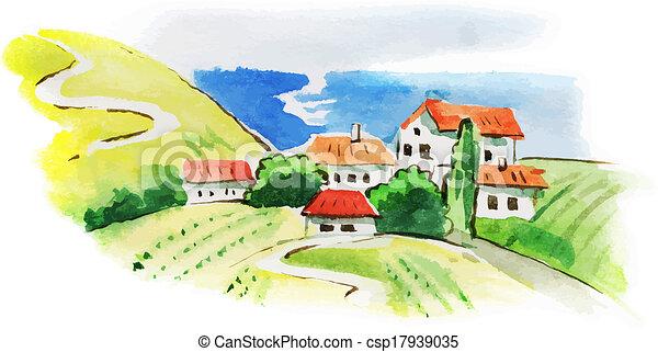 geverfde, watercolor, landscape, wijngaard - csp17939035