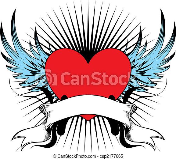 gevleugeld, hart, embleem - csp2177665