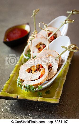 gevogelte, groentes, roulade, gevulde - csp16254197