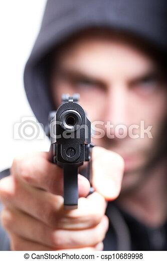 geweer, man, brandpunt, gangster, geweer - csp10689998