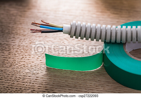 Gewellt, elektrisch, kabel, pfeife, isolieren, grün, rolle ...