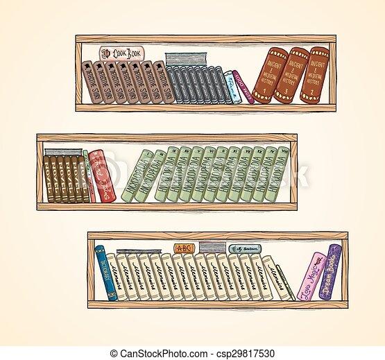 Bücherregal gezeichnet  Gezeichnet, bücherregale, vektor, buecher, hand.... Vektoren ...